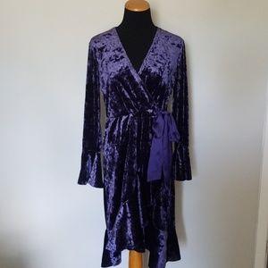 NWT Spense Blue Crushed Velvet Faux Wrap Dress 6